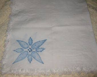 Vintage Linen, Tablecloth Table Cloth, Small Table Covering, With Hand  Painted Blue Flower