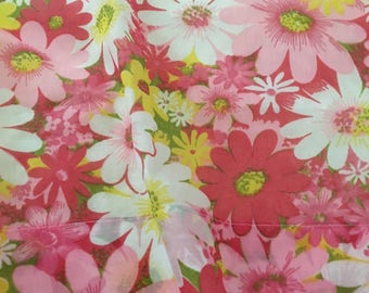 Vintage Curtains, Cafe Curtains, two panels, one valance - Mod funky floral fabric to brighten your kitchen or back door window