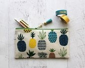 Pineapple print bag - cute pineapple pencil pouch - planner accessories - bullet journal pen pouch -  zipper pouch
