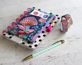 Floral phoenix mythical bag - personal planner - personal planner bag - mini planner stickers organizer - tassel charms - journal pen holder