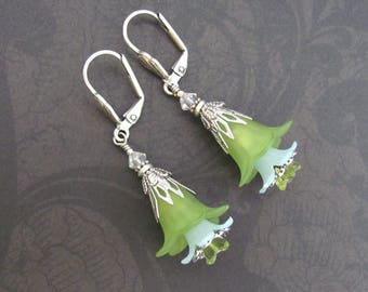 Green Trumpet Flower Earrings Stacked Layered Chandelier Silver Plated Dangle Drops, LIme Aqua Blue Lucite and Glass, Swarovski Crystals