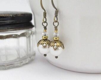 White Pearl Earrings Pearl Bridal Earrings Beaded Wedding Jewelry Dangle Earrings Brides Jewelry White Wedding Swarovski Jewelry Handmade