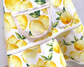 Girls Lemon Apron, Kids, Girls, Child, Toddler, Teen, Baking, Cooking & Craft Apron, Birthday Gift, Pretend Play Kitchen - LEMONADE