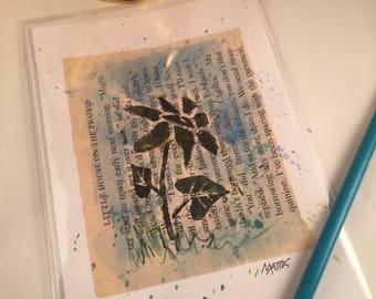 Hand printed blank greeting card original linocut inked art print up upcycled mixed media sunflower shabby chic decor farm