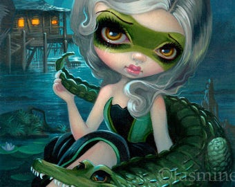 Alligator Girl art print by Jasmine Becket-Griffith 8x10 Florida gator swamp southern gothic fairy bayou green mask superhero