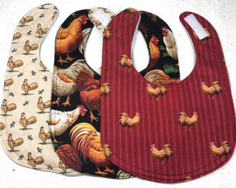 Chicken Baby Bib - Country Infant - Hen - rooster - handmade - farm - set of 3
