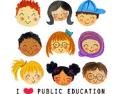 I Heart Public Education high quality giclee art watercolor painting Lauren Ingraham