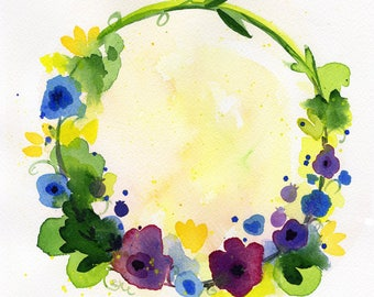 "Purple Yellow Blue flower Wreath watercolor original painting art 8""x8"""