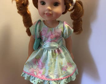 14.5 inch doll clothes floral dress with matching purse and shoes fits dolls such as Wellie Wishers