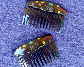 Vintage 1980s Hair Comb 80s New Wave Abstract Pair