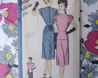 Vintage 1940s Pattern Dress Hollywood Pattern 1751 40s Day Dress B30