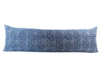 Hmong Hand Block Batik Indigo Long Lumbar Zipper Pillow - Bohemian Long Lumbar Pillow - Down Filler Included