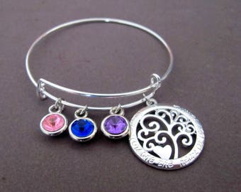 Family Tree Bangle Bracelet,Grandma's Gift ,Siver Tree Birthstone Charm Bracelet,Mother's Day Gift,Mom,Grandmother Gift, Free Shipping USA
