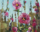 HOLLYHOCKS Summer Landscape  pink flowers Original Pastel Painting Karen Margulis 11x6