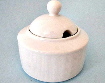 White Sugar Bowl and Lid with Opening for Spoon - Vintage Germany Sugar Bowl -  Eschenbach Porzellan German Porcelain -