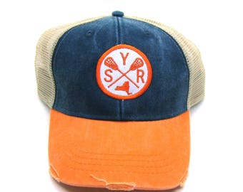 Navy and Orange Distressed Snapback Trucker Hat - Syracuse Lacrosse - Patched Arrow Compass