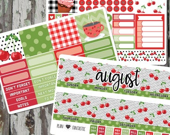 August Monthly Planner Sticker Kit - Monthly Calendar Stickers for use with ERIN CONDREN LIFEPLANNER™ or Recollections Planner