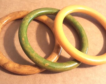 Bakelite Bangle Lot of 3 Tube Bracelet Lot swirled toffee green bakelite bangle tube bakelite bangles cream corn bakelite
