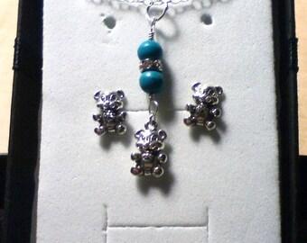 ON SALE Teddy Bear Jewelry Set, Teddy Bear Jewelry Set, HTCB Teddy Bear Jewelry Set, Hctb Jewelry, Hctb Teddy Bear Jewelry