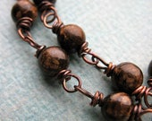 Bronzite Antiqued Copper Bead Chain - 2 Segments - 6 inches in length
