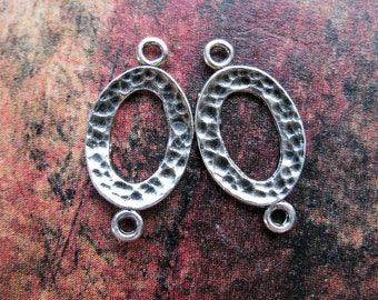 Antiqued Hammered Sterling Silver Oval Connectors - 1 pair - 17 by 10mm