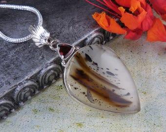 Montana agate & garnet sterling silver pendant/necklace