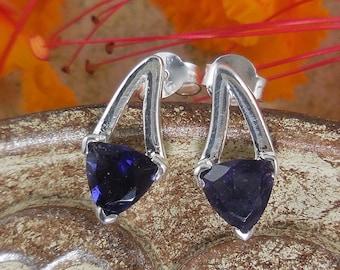 Iolite sterling silver post earrings