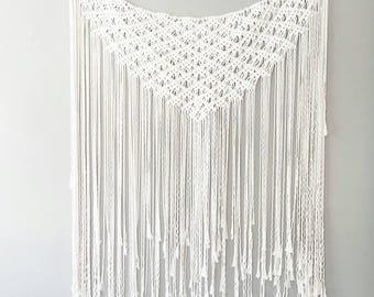 Macrame Curtain- Macrame Wall Hanging~ Bohemian Furniture~ Boho Wall Decor~ Wedding Decor~ White Wall Accent- Bohemian Bedroom Decor- Gypsy