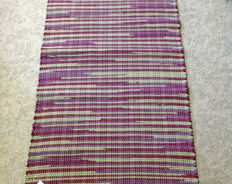 Rag Rug cotton flannel bedsheets reuse 58 inches long by 27 inches wide handcrafted OOAK Home Decor