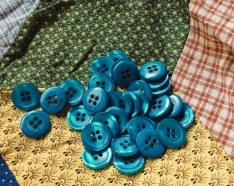 turquoise-teal buttons, vintage seventies button, shimmery blue-green button, set of 20, new old stock