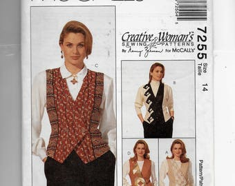 McCall's Misses' Lined Vests Pattern 7255