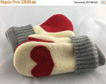 ECLIPSE SALE- Upcycled Felted Wool Mittens- Cream and Red-Wool Mittens-Heart Mittens