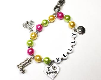 Tennis Charm Bracelet. Personalized Name Bracelet. Jewelry for a tennis player. Gift for Tennis tennis player YOU CHOOSE pearl color