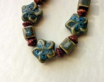 SALE Necklace Spring Themed Green Ceramic Beads