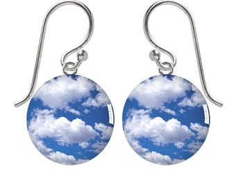 Blue Cloudy Sky Sterling Silver Meniscus Earrings