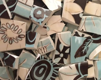Mosaic Tiles Broken Plate Pieces Colorful Tesserae Art Supply Hand Cut Modern Pottery Aqua blue brown