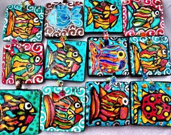 Sale Tropical Fish Rainbow ART Pendant Hand Painted jewelry