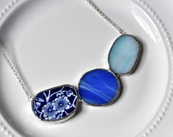 Cluster Broken China and Stained Glass Jewelry Necklace  - Blue Calico