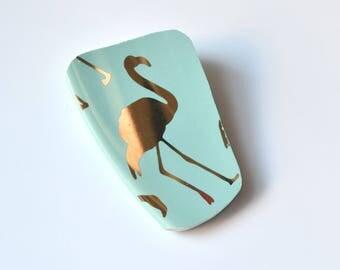 Broken China Jewelry BROOCH - Golden Teal Flamingo