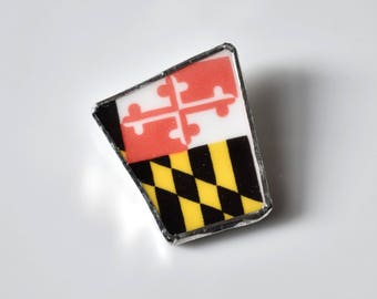 Broken China Jewelry Brooch - Maryland Flag