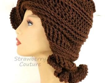 Crochet Cloche Hat 1920s, Womens Crochet Hat, Crochet Womens Hat 1920s, Brown Hat, African Hat, Cynthia 1920s Cloche Hat with Ruffle