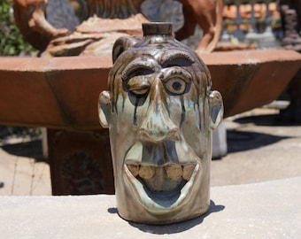 Fun Winking Brown and Green Face Jug Handmade by Dal Burtchaell