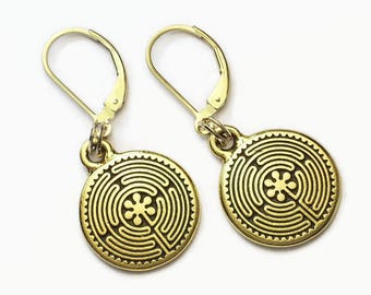 Labyrinth Dangle Earrings 22kt Gold Plated Over Pewter  Leverback Earwires Maze Meditation Spirituality