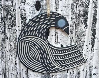 Carved Porcelain Bird Ornament