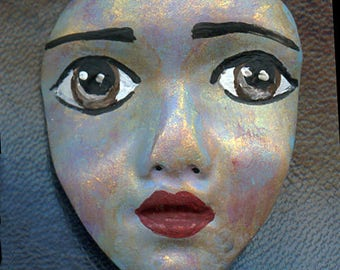 "Polymer Clay One of a Kind  2""  Abstract  Detailed Face Cab Un Drilled ABFC 1"