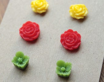 Post Earrings - 3 pairs - Plastic - Surgical Steel - Yellow, Red, Green