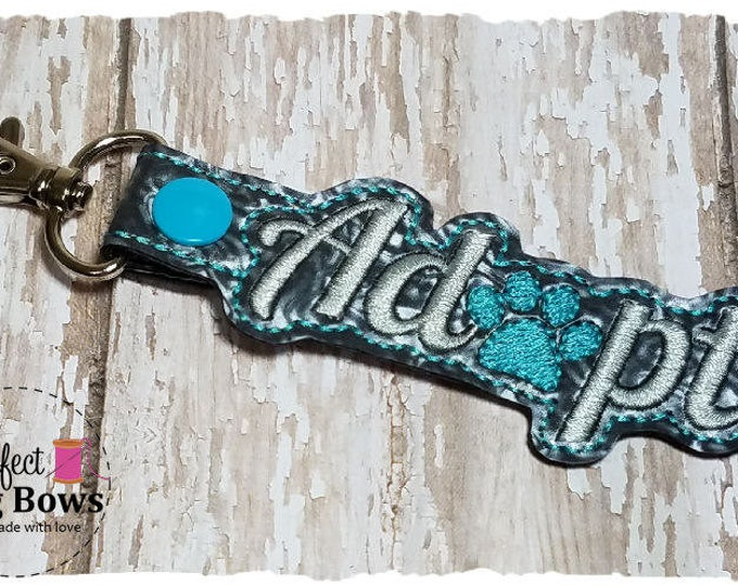 Adopt Keychain,  Gotcha Day Keychain, Adoption Gifts, Pet Lover Gifts, Adopt Key Fob, Dog Paw Key Fob