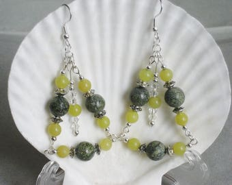 Crystal, Silver,Jade and Serpentine Triangle Dangle Earrings
