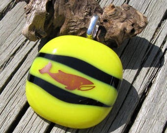 Black and Yellow Glass Whale Pendant