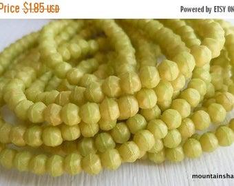 25% OFF Sale 3mm English Cut Beads - Pacifica Honeydew - Czech Glass Beads - 50 pcs (SP - 8)